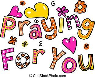 biddend, tekst, u, expres, spotprent