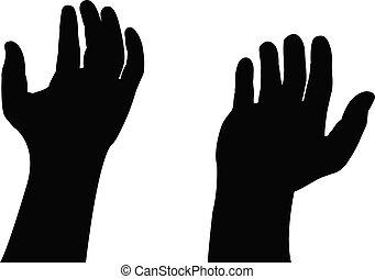 biddend, vector, silhouette, handen