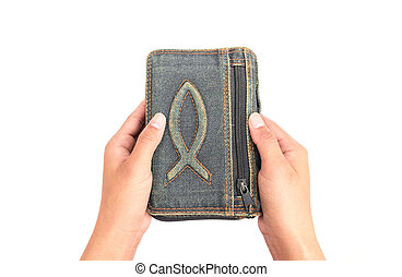 biddend, vrouw, concept, bijbel, religie, achtergrond, handen, witte , houden