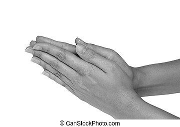 biddend, vrouwenhanden