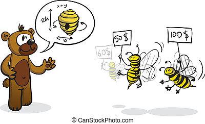 Bidder bees and buyer bear - Vector illustration of a bear...