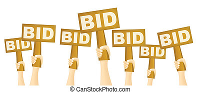 Bidders - Hands holding BID sign to buy from auction.