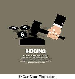 Bidding or Auction Concept.