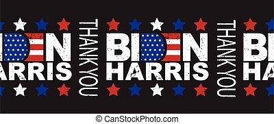 Biden Harris Thank You seamless vector border. American president and vice president elect. US election Democrat Joe Biden and Kamala Harris lettering horizontal border. Grunge style. American flag