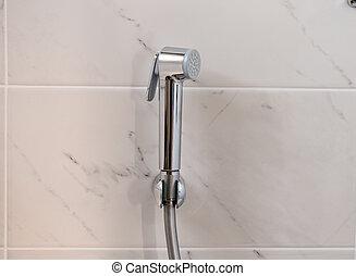Bidet shower on the wall.