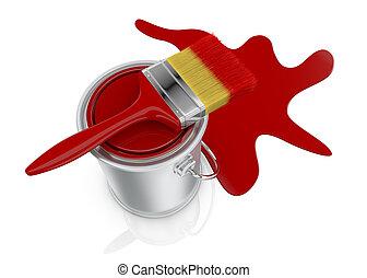 peintre en b timent bo te pinceau peinture marche maison style illustration isol. Black Bedroom Furniture Sets. Home Design Ideas