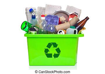 bidone, bianco, riciclaggio, verde, isolato