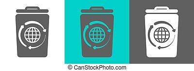 bidone, contorno, globo, elemento, vettore, icon., rifiuti