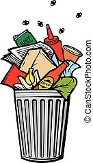 bidone, (garbage, pieno, rifiuti, can)