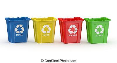 bidone, specie, recycling., materiale, segno, riciclare