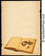 bidsnoer, gescheurd document, blad, oud, boek, uit