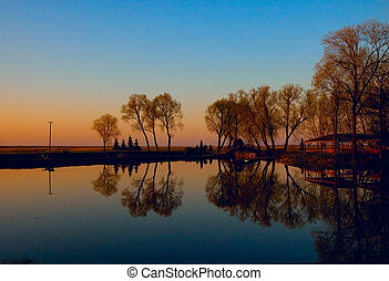 Biebrza swamps during the sunset