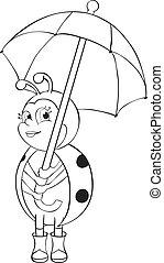 biedronka, parasol, -, kontur
