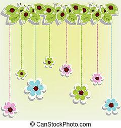 biedronki, kwiaty, karta