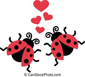 biedronki, miłość, dwa