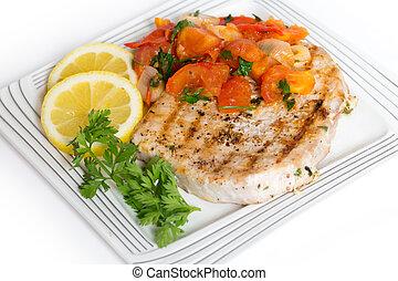 biefstuk, maaltijd, marlin