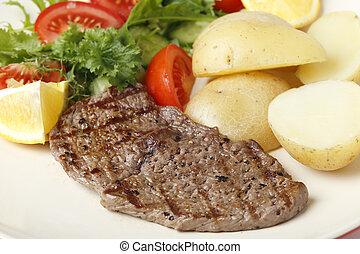 biefstuk, maaltijd, minuted