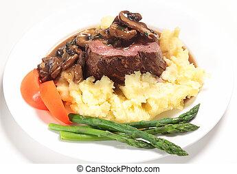 biefstuk, maaltijd, tenderloin