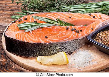 biefstuk, visje, salmon, rauwe, keukenkruiden, fris, kruiden, groentes, rood