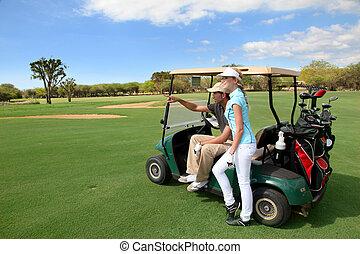 bieg, para, golfowy wóz