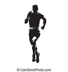 biegacz, abstrakcyjny, silhouette., wyścigi, wektor, przód, człowiek, maraton, prospekt