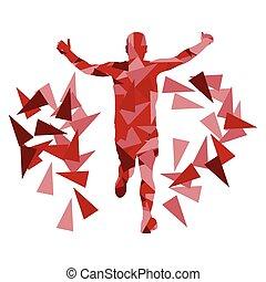 biegacz, abstrakcyjny, wektor, maraton