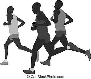 biegacz, grupa, atleci, maraton