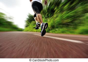biegacz, kobieta, nogi, młody, stosowność