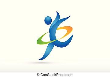 biegacz, logo, icon., wektor