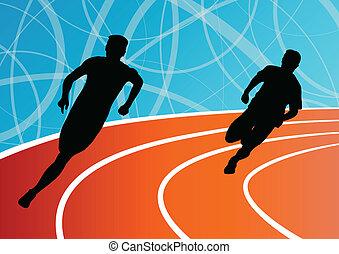 biegacz, mężczyźni, wyścigi, ilustracja, sylwetka, wektor, ...