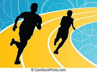 biegacz, mężczyźni, wyścigi, ilustracja, sylwetka, wektor, tło, czynny, atletyka, sport