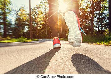 biegacz, na dół, jogging, droga, samica