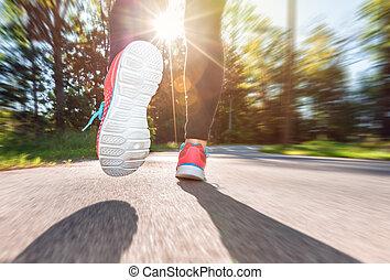 biegacz, na dół, jogging, kobieta, droga