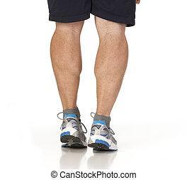 biegacz, nogi, mięśnie, łydka, rozciąganie