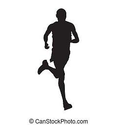 biegacz, odizolowany, sylwetka, wektor, prospekt przodu