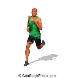 biegacz, sylwetka, geometryczny, wyścigi, wektor, przód, prospekt., człowiek, pasaż