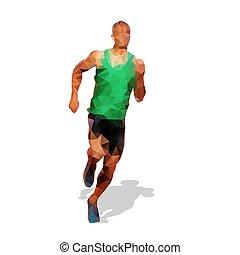 biegacz, sylwetka, geometryczny, wyścigi, wektor, przód, prospekt., człowiek