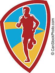 biegacz, tarcza, maraton, retro