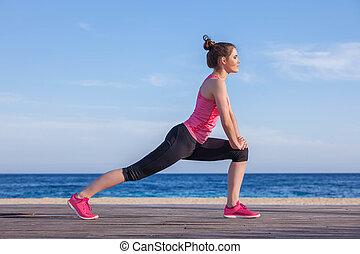biegacz, uprawiający jogging, rozciąganie, albo, ruch