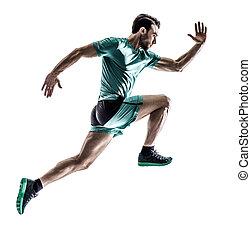 biegacz, uprawiający jogging, wyścigi, odizolowany, człowiek