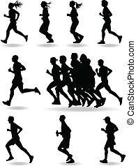 biegacz, wektor, sylwetka