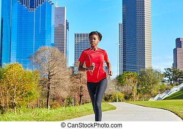 biegacz, wyścigi, muzykować słuchanie, dziewczyna, earphones