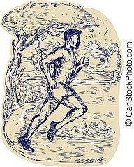 biegacz, wyścigi, rysunek, maraton