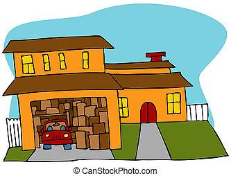 biegający bezładnie, garaż