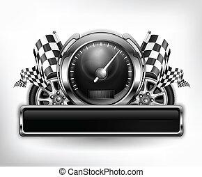 biegi, emblemat, szybkościomierz, na białym