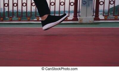 biegnie, nogi, miasto, biegacz, prospekt