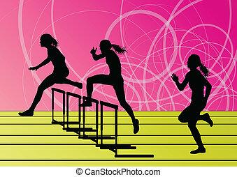 biegnie przez płotki, bariera, sylwetka, ilustracja, wyścigi, wektor, tło, czynny, dziewczyna, sport, atletyka, kobiety
