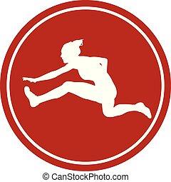 biegnie przez płotki, kobieta, biegacz, m, 100, ikona