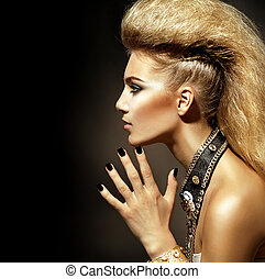 biegun, styl, fason, fryzura, portrait., wzór, dziewczyna
