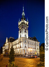 Neo-Renaissance town hall - Bielsko-Biala, Poland - August...